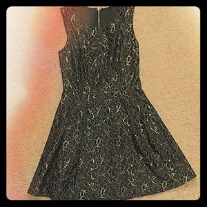 Black and gold Lace Flower Dress